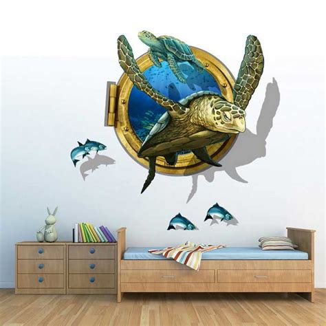 Wall Stickers Com removable diy 3d sea turtles decorative wall stickers