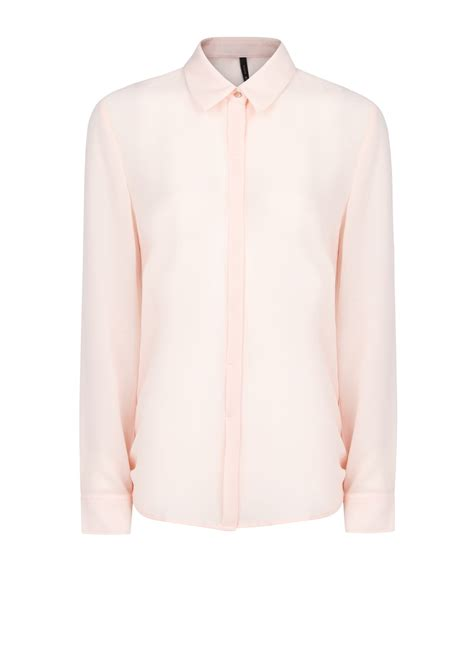 Light Pink Shirt Womens by Mango Sleeve Flowy Shirt In Pink Lyst