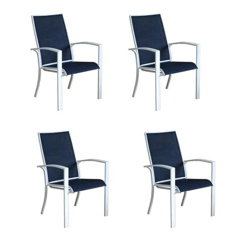 Stackable Aluminum Patio Chairs Shop Allen Roth Park 4 Count White Aluminum Stackable Patio Dining Chairs With Nautical