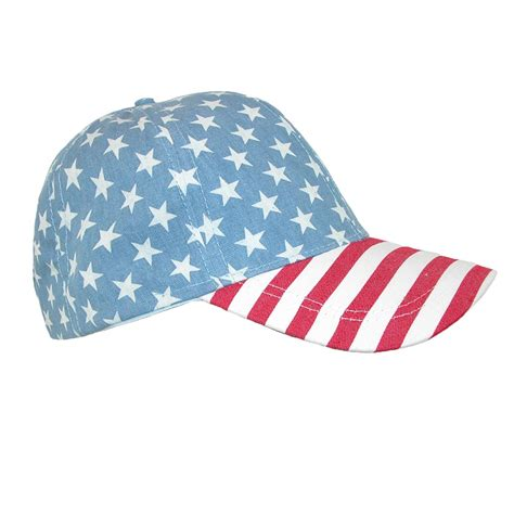 cotton american flag and stripes baseball cap by