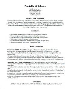 Business Resume Sles Business Owners Business Owner Description For Resume