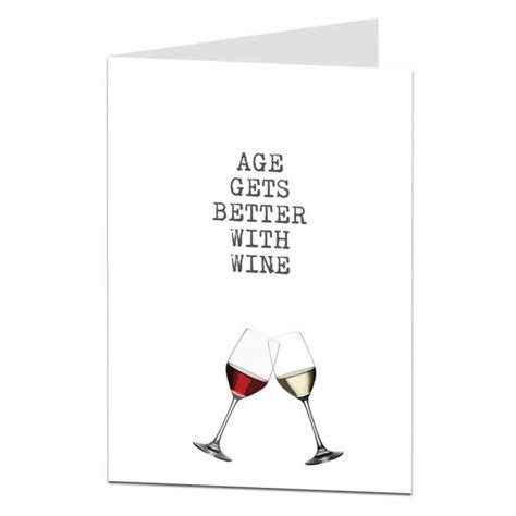 Age Gets Better With Wine Birthday Card   LimaLima