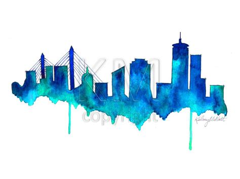 boston skyline watercolor painting print home decor and