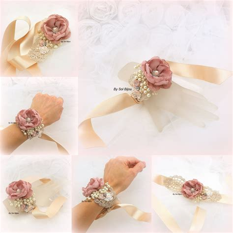 Wrist Corsage Dusty Rose Gold Rose Ivory Corsage