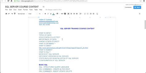 online tutorial for sql sql server 2012 online training day 1 video sql server
