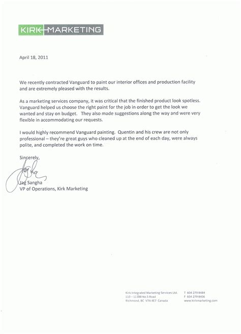 Reference Letter From Employer Marketing Testimonials Vanguard Painting Ltd