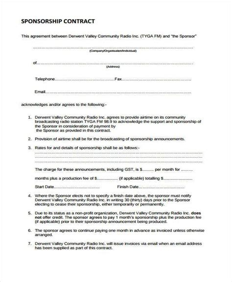 Sle Sponsor Contract Forms 7 Free Documents In Word Pdf Radio Station Contract Template