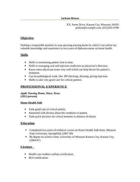 Resume For Home Health Aide by Basic Home Health Aide Resume Template