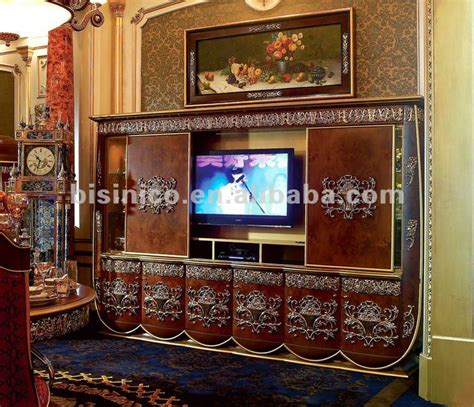 luxurious wooden carving showcase cabinet using clear luxury home entertainment unit european classical tv