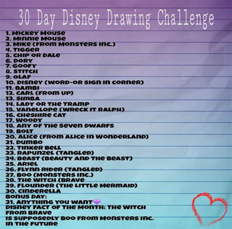 Drawing Challenge by 30 Day Disney Drawing Challenge Drawings