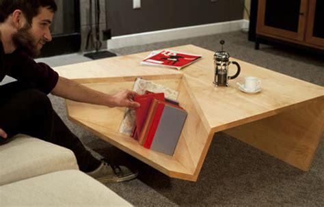 Wohnzimmertisch Holz 2485 by Not Ordinary Shaped Coffee Table With Book Storage