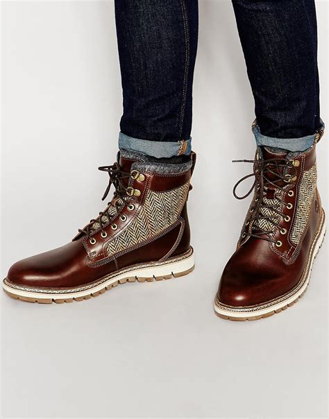 timberland boat shoe look lyst timberland britton heel tweed shearling look boots
