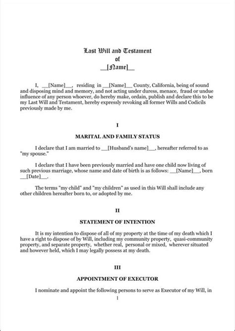 8 Best Last Will And Testament Template Form Massachusetts Images On Pinterest Nevada Idaho Free Nevada Will Template