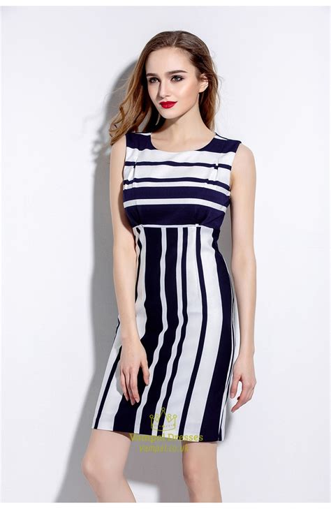 Black White Sleeveless Dress 1 black and white sleeveless striped sheath cocktail dress val dresses