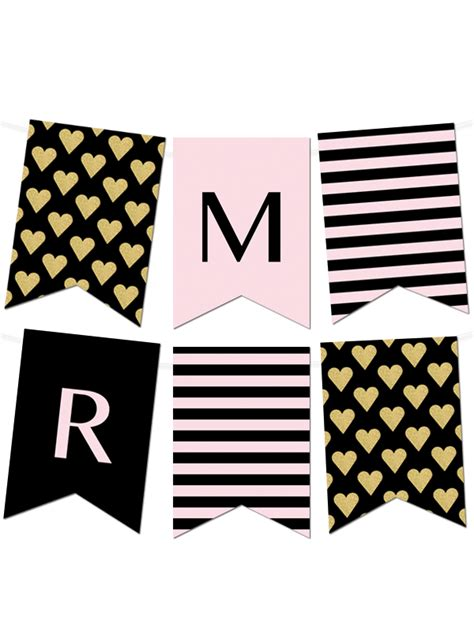 printable heart banner free printable striped gold heart banner maker from