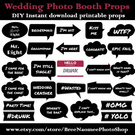 wedding photo booth props printable pdf wedding photo booth props diy high quality pdf printable props