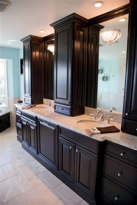 cabinet between bathroom sinks woodland