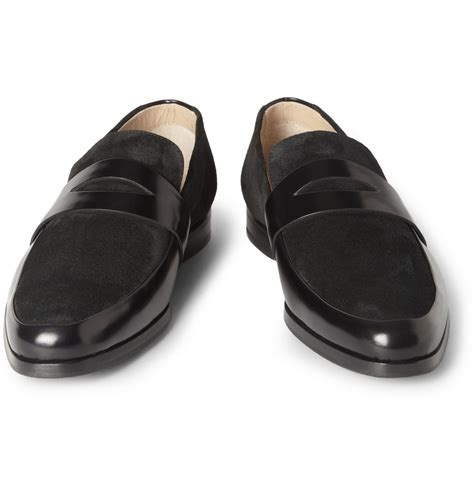 mr hare loafers mr hare penet leather and suede loafers in black for