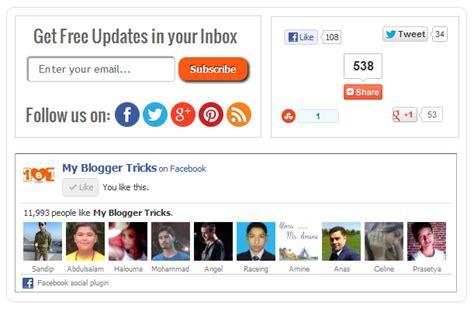 blogger plugin no ordinary social sharing subscription widget