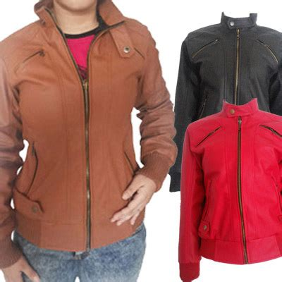 Jaket Kulit Casual Merah qoo10 jaket kulit wanita pakaian