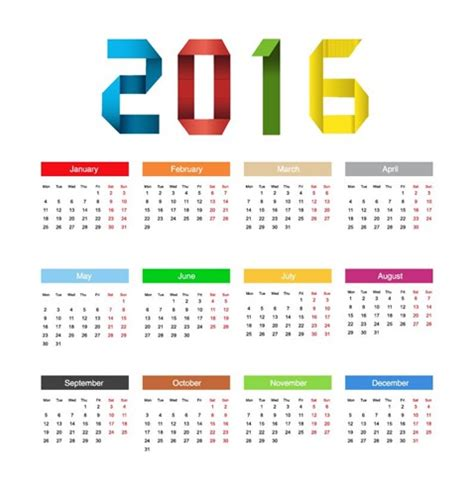 design calendar illustrator calendar 2016 year colorful design vector illustration