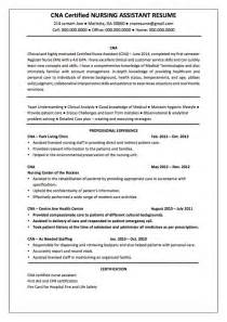 Resume Sample For Cna by Certified Nursing Assistant Cna Resume Samples And Tips