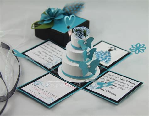 exploding box invitation template jinky s crafts designs turquoise blue and black