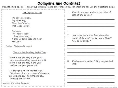 Compare Two Poems Essay by Compare And Contrast Activities Poems Reading Passages And More Activities Other And Poem