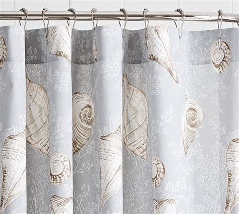 seashells shower curtain summer seashell shower curtain pottery barn