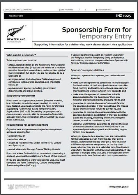 Sponsorship Letter Visa New Zealand Inz1025 Nz Sponsorship Form For Temporary Entry All Immigration Matters Including Temporary
