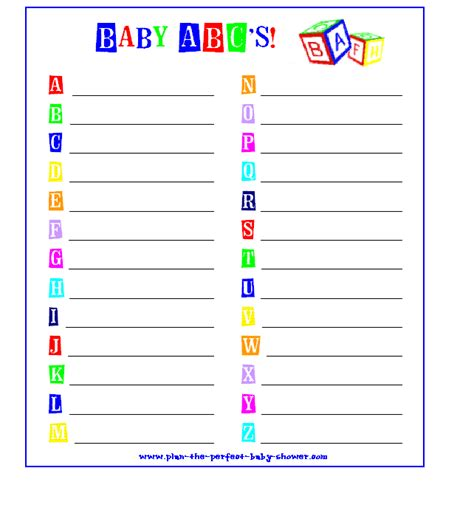 printable alphabet game for baby shower baby shower alphabet game sorepointrecords