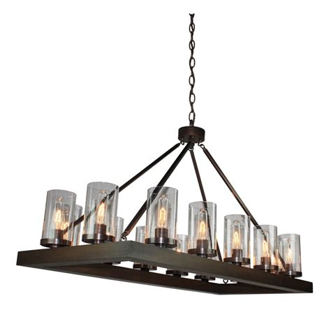 Island Chandelier Jasper Park 14 Light Bronze Island Light Artcraft Lighting