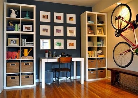 Small Apartment Storage Ideas Apartments The Aesthetic Sparkling Brown Floor Design Grey Wall Painting Shelf Bicycle