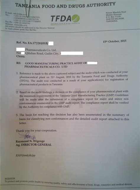 Electronic Invoice Notification Letter tanzania investment centre