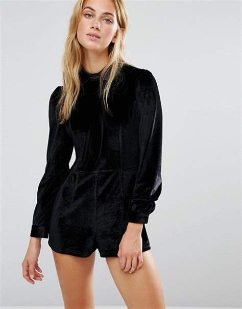 Velvet Playsuit fashion union fashion union velvet playsuit with collar