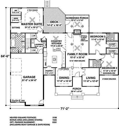 56 sq ft southern style house plan 3 beds 3 baths 2156 sq ft plan