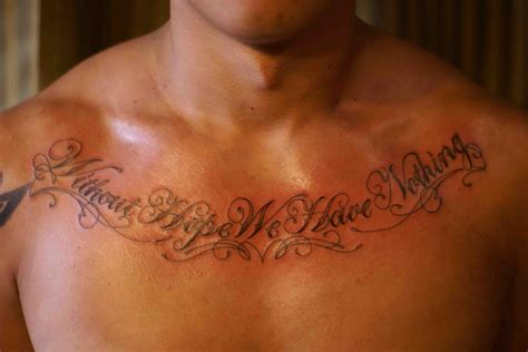 mens chest tattoo quote tattoos designs ideas and meaning tattoos for you