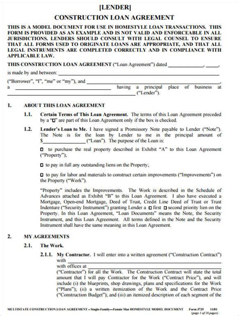 21 loan agreement template word excel pdf documents