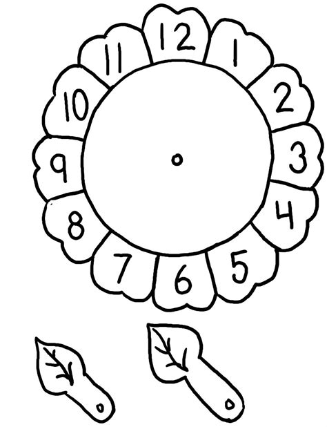 flower clock template 12 best images of flower clock worksheet preschool clock