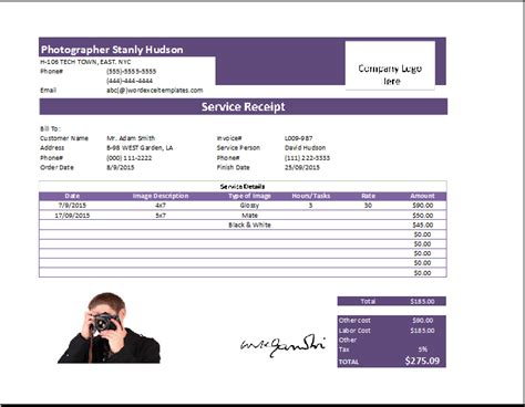 ms excel photography receipt template receipt templates
