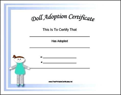 Doll Adoption Certificate Template   Sample Templates