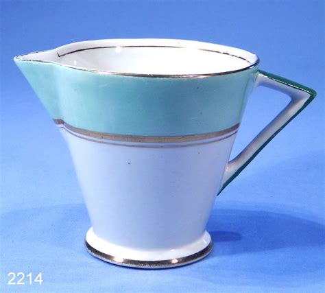Palissy Art Deco Green Vintage Bone China Milk Jug / Cream Jug ? SOLD: Collectable China