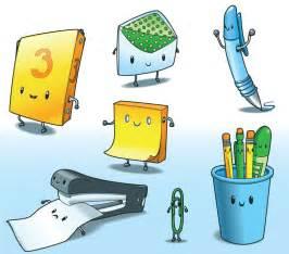 kawaii office supplies vector illustration travis