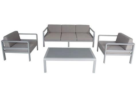 vente privee salon de jardin salon de jardin alu canap 233 3 p 2 fauteuils avec coussins et table plateau verre anco la