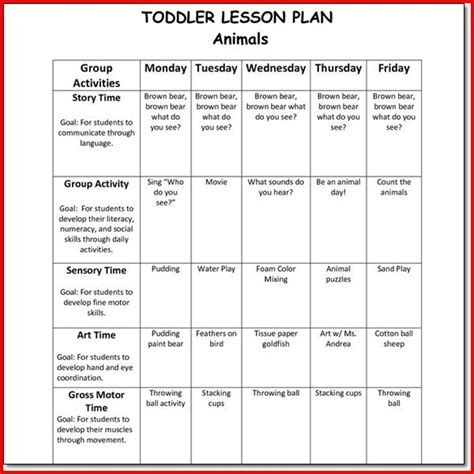 creative curriculum preschool lesson plan template best