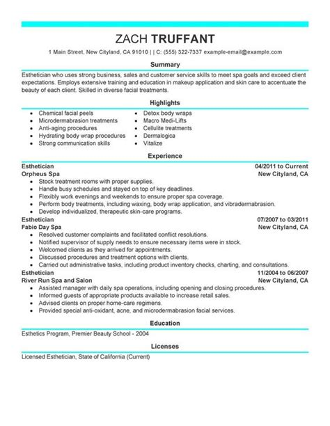cover letter repeating cv esthetician resume cover letter sle http www