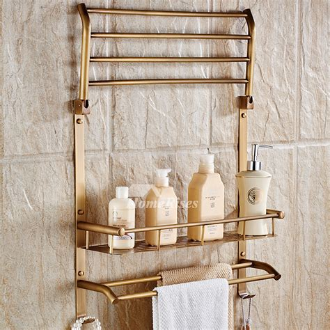 Brass Bathroom Shelves Antique Brass Folding Wall Shelves Bathroom 2 Layer