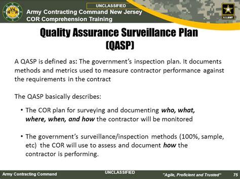 quality assurance surveillance plan template cor class course introduction ppt