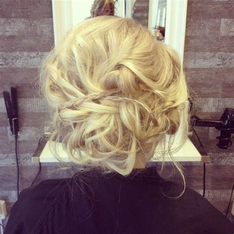 formal hairstyles messy bun with braid prom messy bun updo braids blonde hair good hair day