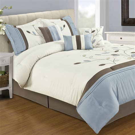 new home classics 174 alana 7 pc queen comforter set in blue